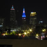 Downtown Cleveland as seen from rooftop patio at night