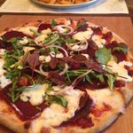 Beetroot and horseradish pizza