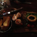 Fillet steak with king prawns