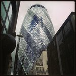 View of the Gherkin near Bevis Marks