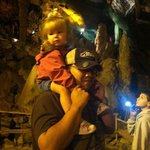 Carrying Addy on my shoulders for part of the cave