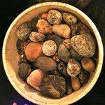 Petit fours embedded with real pebbles - fun!