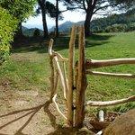 portillon de bois vue su Roccapina