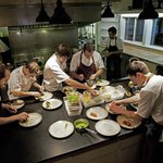 Chef Blaine and team prepping the next course