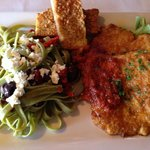 Pork Milanese with spinach pasta