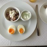 Breakfast: Sweet marinaded raw herring, fresh and filling, with soft-boiled egg and dill sauce