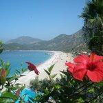 View of Olu Deniz beach from above the infinity pool