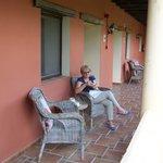 On terrace outside room
