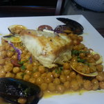 fresh grouper filet over chorizo and garbanzos