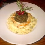 Chicken breast with haggis on tagliatelle with leek nd cream sauce