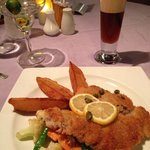 viener schnitzel, special iced tea and margarita