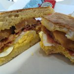 Sausage, bacon and egg filled soda bread