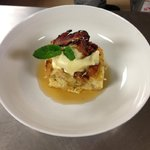 maple bread pudding with homemade maple bacon ice cream!