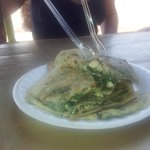 Feta and spinach gozleme from the cafe on the beach