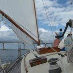 Sailing under the St. George bridge on The Heritage