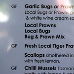 a small section of the menu - didn't try the garlic bugs.