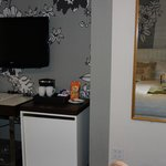 Desk, TV and Mini Refridge.