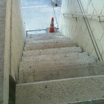 caution cone on the stairs