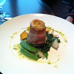 Arctic char wrapped in bacon