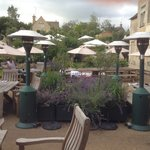 The terrace at the rear of The Wheatsheaf