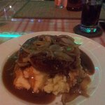 Bistro homemade Bangers and Mash with onion gravy