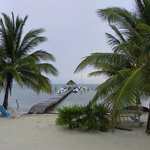 View of beach and dock with the only Palapa that is that far into the water.