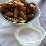 Fried Zucchini with lemon garlic aioli sauce