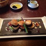 hand dived scallops,potato scone,black pudding,asparagus