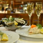 Oysters, Toast Skagen with bleak roe and Champagne