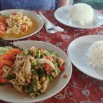 Two dishes - panang curry and a stir fry with Thai basil
