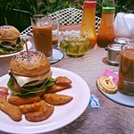 Our order of chicken & lamb burgers with vietnamese coffee !!