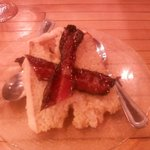 Maple Bacon Cake.  The cake looked so much better than my cell phone camera shows.