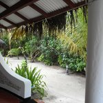 View from our beach bungalow, showing pathways