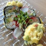 Deep fried maki with crab, asparagues, avocado and eggs from flying fish