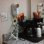 coffee maker and hair dryer