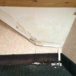 Under desk type ledge near window - def water damage