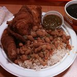 Meal Deal - Fried Chicken, Rice & Beans, Tortillas, Black Beans, Green Salsa $8.99