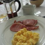 Scrambled Eggs and Bacon, French Press Coffee