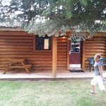 Our little cabin (and my flying daughter...)