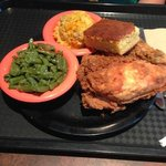 fried chicken, green beans, broccoli rice casserole
