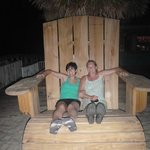 Big chair in courtyard