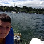 On Cowichan Bay with Museum boat & motor