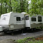 Outside of rented camper Springdale
