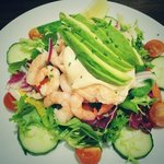 prawn, avocado and salmon salad