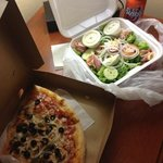 2 slices veggie pizza, huge chef salad with extra dressing, and a Sunkist.