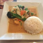 Thai Palace's Panang Tofu, with white rice.