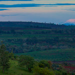 Stunning view of the lodge, Kilimanjaro and Mount Meru. Early morning, January.