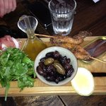 olives/prosciutto/ anchovies/ squid skewers