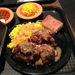oxtail and rice, baked beans, broc rice casserole, cornbread