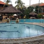 Pool with swim-up bar right outside premiere rooms